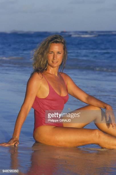 L'actrice Brigitte Fossey en vacances en Guadeloupe le 4 mars 1987