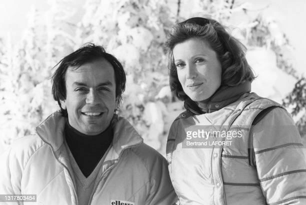 Actrice Catherine Alric et le sportif Patrick Dominguez lors du festival de film fantastique d'Avoriaz le 19 janvier 1984.