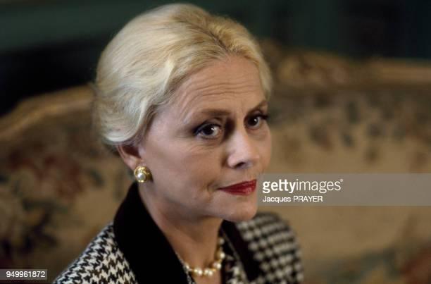 L'actrice Christiane Minazzoli durant le tournage du film 'Betty' de Claude Chabrol en décembre 1991 en France