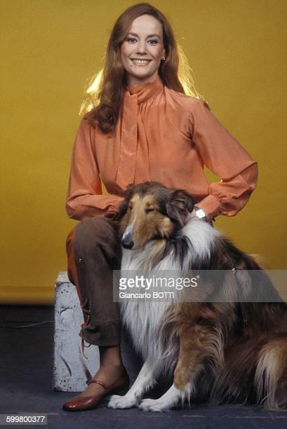 L'actrice Claudine Auger avec son chien Colley d'Ecosse circa 1960 en France