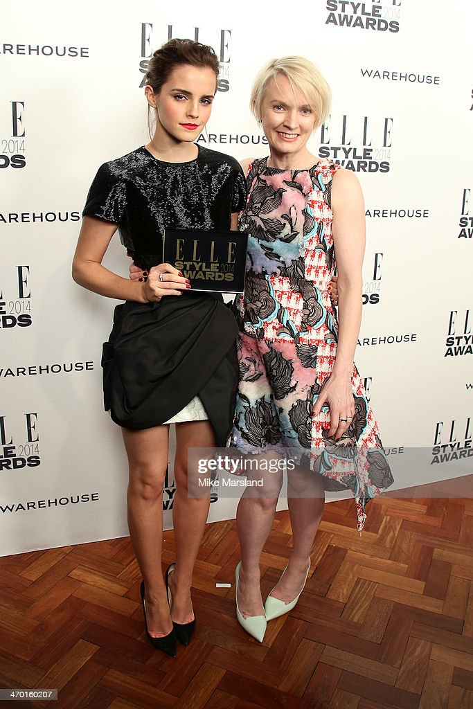 Actrice Emma Watson, winner of the Actress of the Year Award, poses in the winners room with the editor-in-chief of ELLE UK Lorraine Candy at the Elle Style Awards 2014 at one Embankment on February 18, 2014 in London, England.