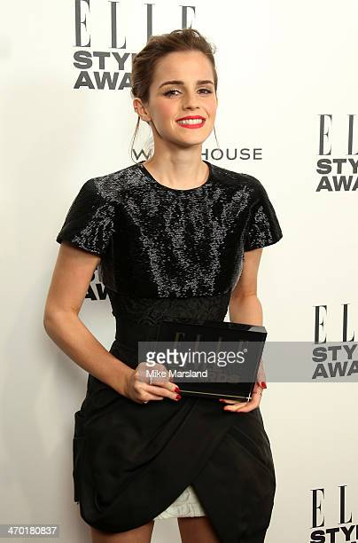 Actrice Emma Watson winner of the Actress of the Year Award poses in the winners room at the Elle Style Awards 2014 at one Embankment on February 18...