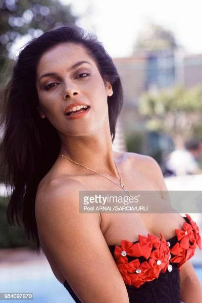 L'actrice et chanteuse canadienne Vanity lors du Festival de Cannes en mai 1989 France