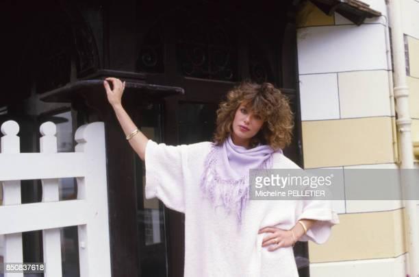 L'actrice et mannequin américaine Kelly LeBrock au Festival de Deauville le 7 septembre 1984 France