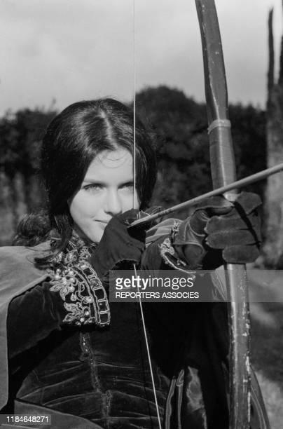 Actrice française Anny Duperey sur le tournage du film à sketches 'Histoires extraordinaires - Metzengerstein' réalisé par Roger vadim en novembre...