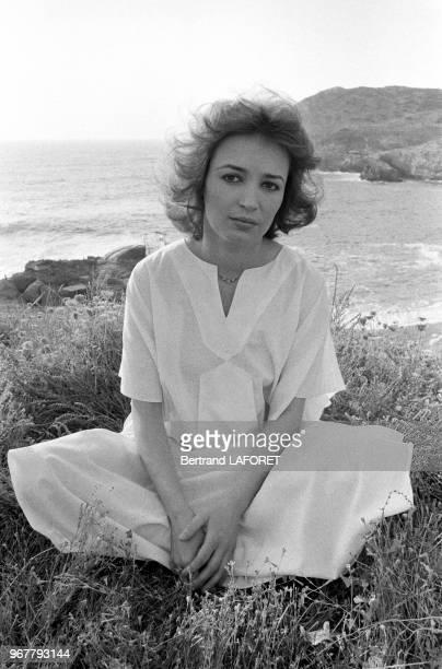 L'actrice française Dominique Laffin lors du tournage du film 'Pipicacadodo' réalisé par Marco Ferreri en Sardaigne le 25 juin 1979 Italie