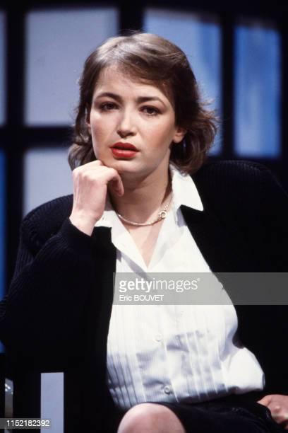 L'actrice française Dominique Laffin lors d'une émission de télévision à Paris le 10 décembre 1983 France