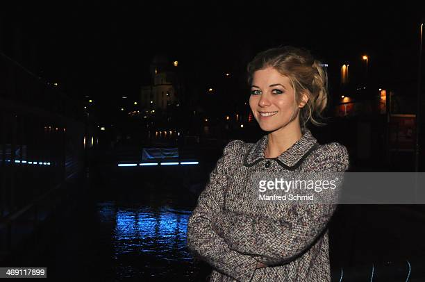 Actrice Hilde Dalik poses for a photograph during the after party for the Austrian premiere of 'Das Finstere Tal' at Badeschiff on February 11 2014...