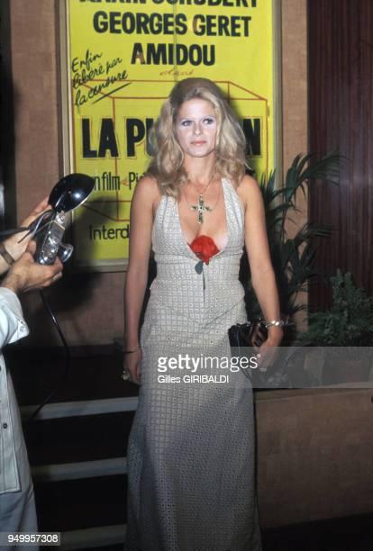 Actrice Karin Schubert au Festival de Cannes en mai 1973, France.