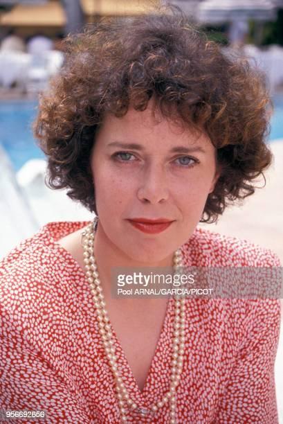 Actrice néerlandaise Sylvia Kristel lors du Festival de Cannes en mai 1990, France.