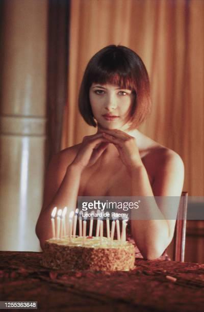 Actrice Sophie Marceau chez elle à Paris