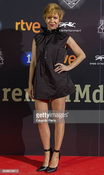 Actriz Eva Llorach attends 'El Ministerio del Tiempo' second season premiere at Capitol cinema on February 11 2016 in Madrid Spain