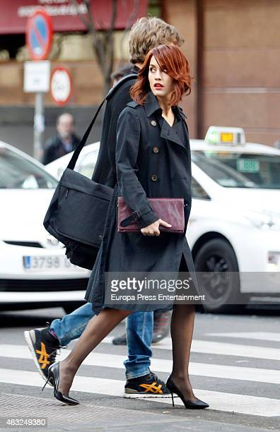 Actriz Megan Montaner and actor Eloy Azorin are seen on the set filming of 'Sin Identidad' on January 29 2015 in Madrid Spain