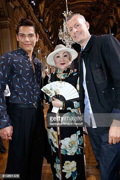 Actro Jacky Heung, Owner of Lanvin Shaw Lan Wang and Stylist of 'Lanvin Men', Lucas Ossendrijver attend the Lanvin show as part of the Paris Fashion...