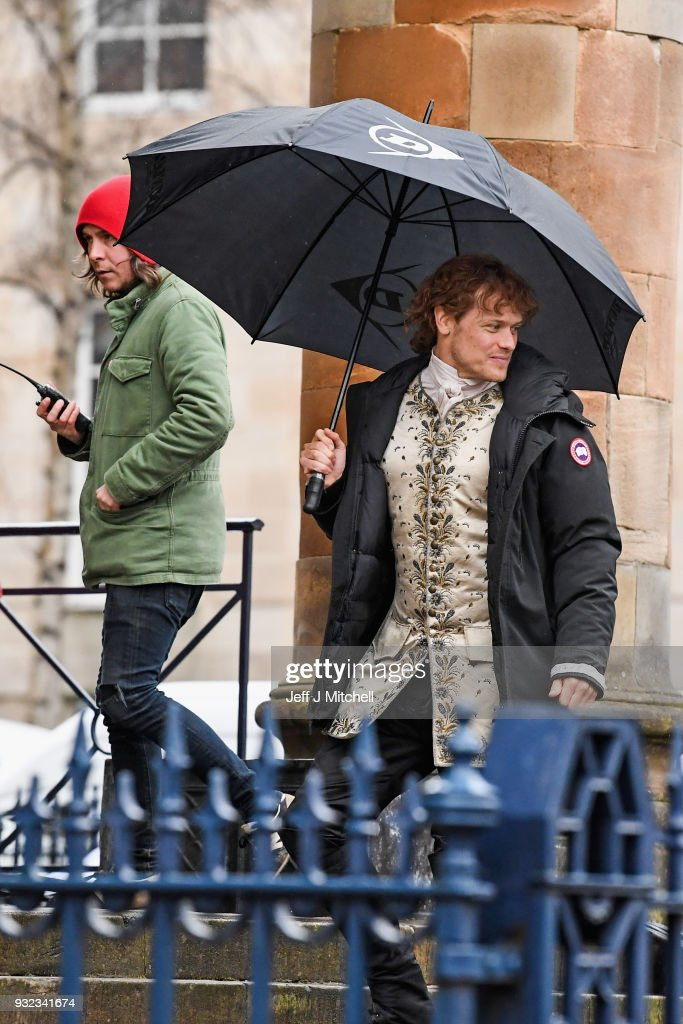 Actror Sam Heughan from the TV series Outlander arrives at a filming location at St Andrew's Square on March 15, 2018 in Glasgow, Scotland. Dozens of fans have gathered to catch a glimpse of Sam Heughan and co-star Caitriona Balfe as they filmed in the city's Salmarket area for series four of the programme.