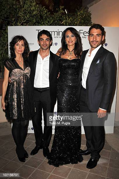 Actrors Anne Parillaud Primo Reggiani Maria Grazia Cucinotta and Miguel Angel Silvestre attend a party at The Lancia Cafe on June 16 2010 in Taormina...