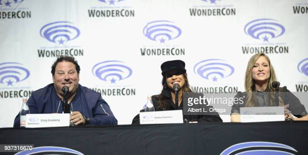 Actrors Greg Grunberg Dania Ramirez and Julie Nathanson attend Day 1 of WonderCon held at Anaheim Convention Center on March 23 2018 in Anaheim...