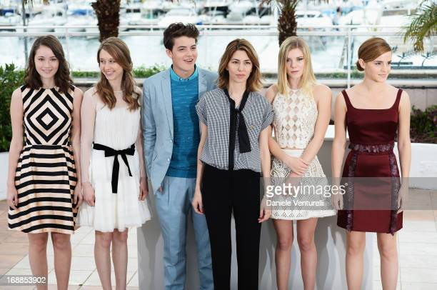 Actrors Katie Chang Taissa Fariga Israel Broussard director Sofia Coppola actresses Claire Julien and Emma Watson attend the photocall for 'The Bling...