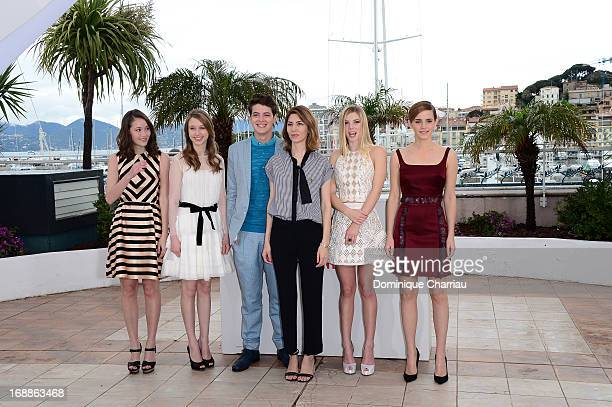 Actrors Katie Chang, Taissa Fariga, Israel Broussard, director Sofia Coppola, actresses Claire Julien and Emma Watson attend the photocall for 'The...