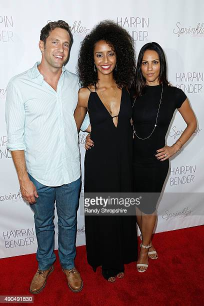 Actrors Mike Faiola Elizabeth Grullon and Christianna Carmine attend the screening of Hairpin Bender at Downtown Independent Theater on September 28...