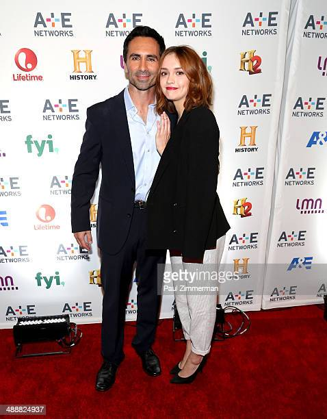 Actrors Nestor Carbonell and Olivia Cooke attend the 2014 A+E Networks Upfront at Park Avenue Armory on May 8, 2014 in New York City.