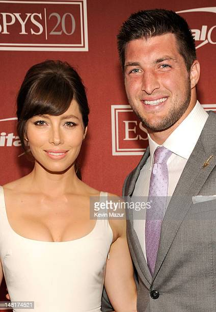 Actrress Jessica Biel and NFL player Tim Tebow of the New York Jets attend the 2012 ESPY Awards at Nokia Theatre LA Live on July 11 2012 in Los...