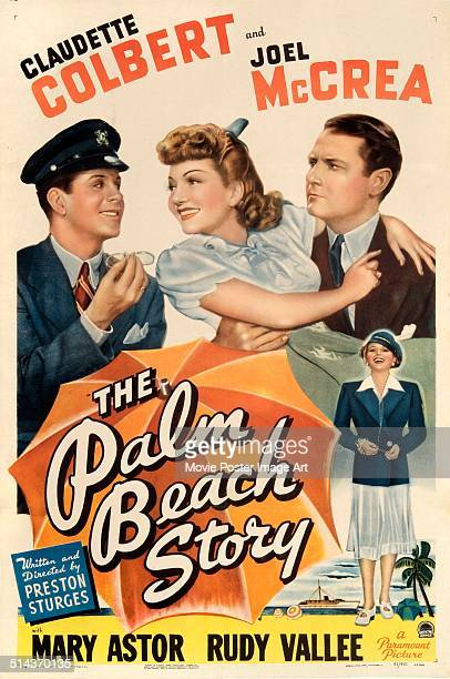 Actrs Claudette Colbert and Joel McCrea appear on a poster for the movie 'The Palm Beach Story' written and directed by Preston Sturges 1942