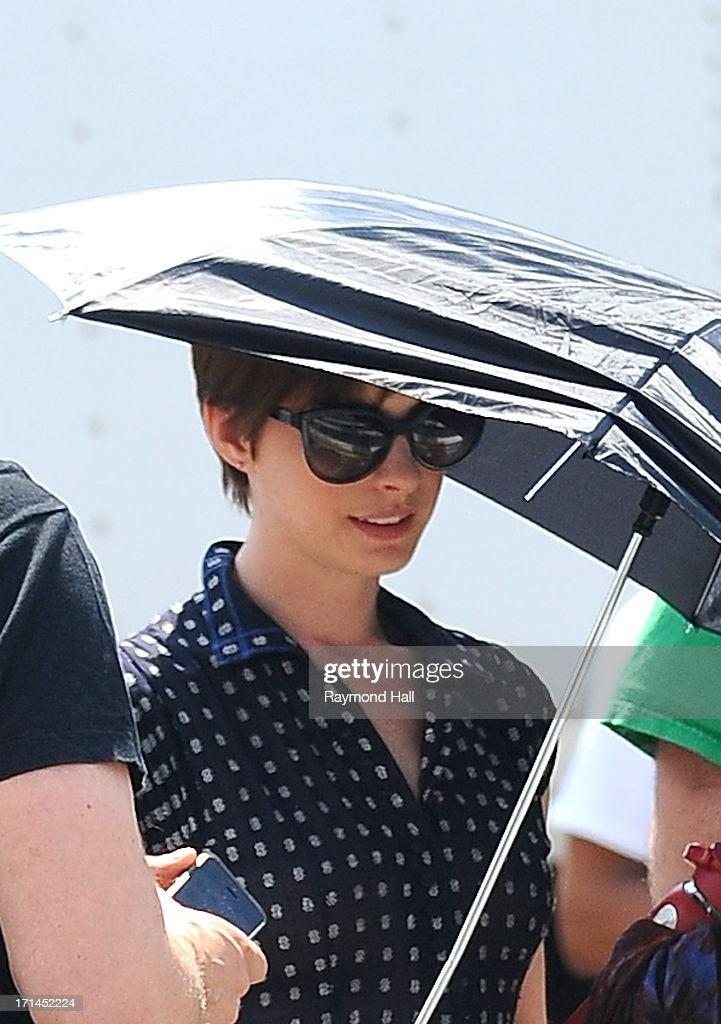 Actrss Anne Hathaway is seen on the set of 'Song One' on June 24, 2013 in New York City.