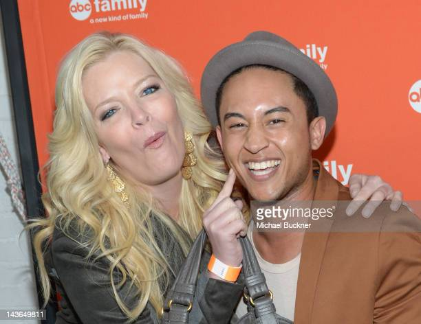 Actrss Melissa Peterman and actor Tajh Mowery arrive at the ABC Family West Coast Upfronts party at The Sayers Club on May 1 2012 in Hollywood...
