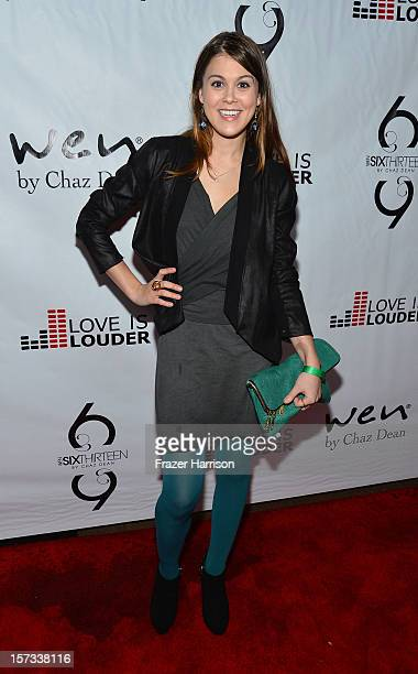 Actrtess Lindsey Shaw arrives at Chaz Dean's Holiday Party Benefitting the Love is Louder Movement on December 1 2012 in Los Angeles California