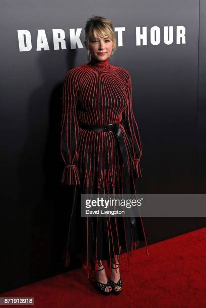 Acttess Haley Bennett attends the premiere of Focus Features' 'Darkest Hour' at the Samuel Goldwyn Theater on November 8 2017 in Beverly Hills...