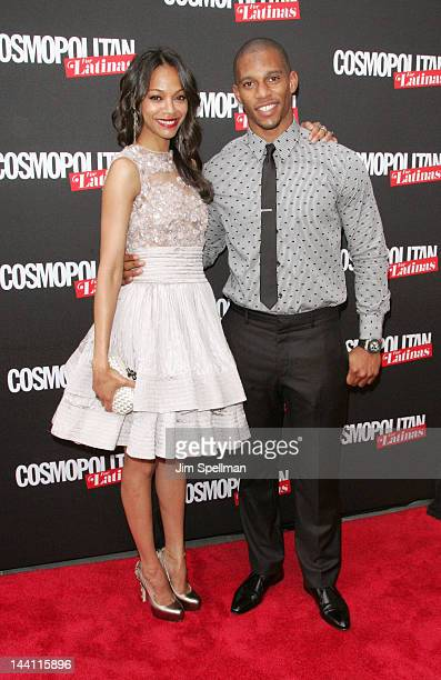 Acttress Zoe Saldana and NFL player Victor Cruz attend the Cosmopolitan For Latina's Premiere Issue Party at Press Lounge at Ink48 on May 9, 2012 in...