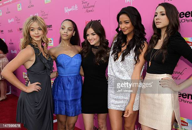 Acttresses Sasha Pieterse Bianca Lawson Lucy Hale Shay Mitchell and Troian Bellisario arrive at the 12th annual Young Hollywood Awards sponsored by...