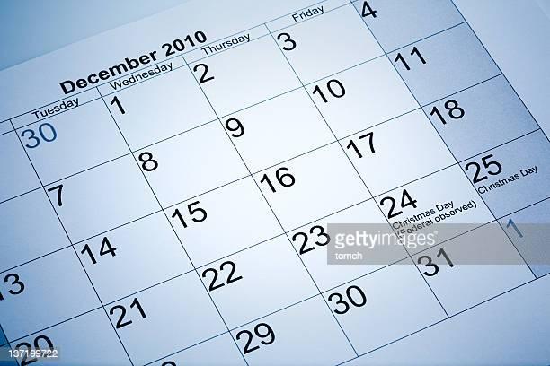 Actual calendar of December 2010