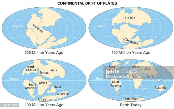 Continental drift stock photos and pictures getty images actual continental drift of plates thematic map sciox Image collections