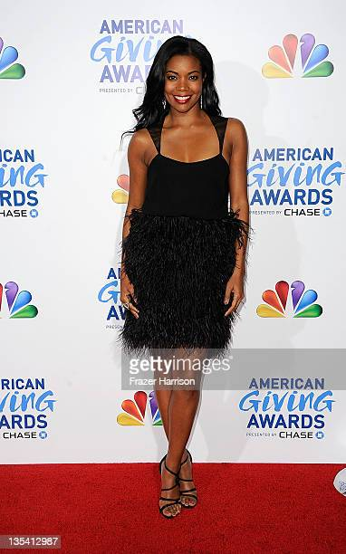 Actyresds Gabrielle Union arrives at the American Giving Awards Presented By Chase at Dorothy Chandler Pavilion on December 9, 2011 in Los Angeles,...