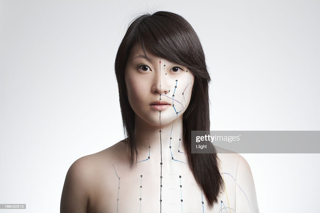 Acupuncture model composing : Stock Photo