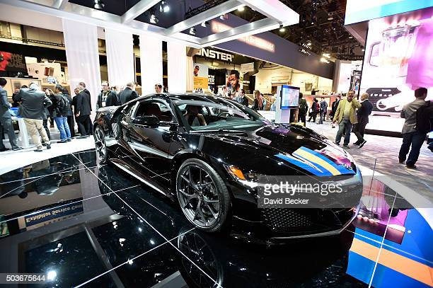 Acura NSX Hybrid is displayed at the Panasonic booth at CES 2016 at the Las Vegas Convention Center on January 6 2016 in Las Vegas Nevada CES the...