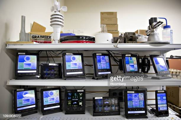 Acurite weather station components sit on a shelf in the quality assurance lab at the Primex Family of Cos facility in Lake Geneva Wisconsin US on...