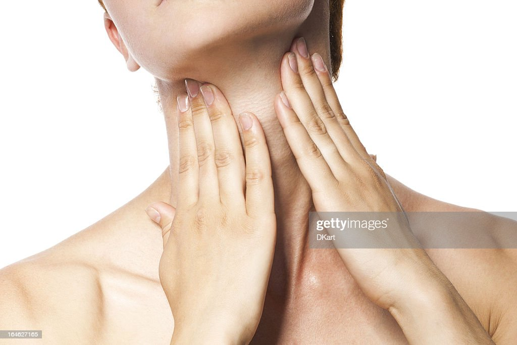 Acute pain in a throat at the young women. : Stock Photo