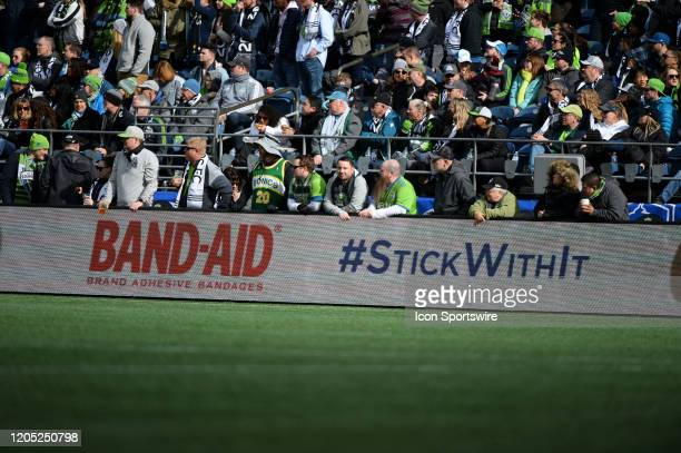 AID ad board seen during a MLS match between the Chicago Fire and the Seattle Sounders at Century Link Field in Seattle WA