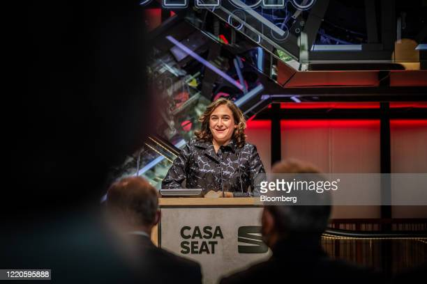 Ada Colau Barcelona's mayor speaks during the launch of Casa Seat the new retail concept store by Seat SA a unit of Volkswagen AG in Barcelona Spain...