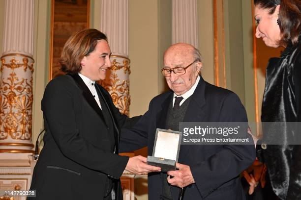 Ada Colau Berbabe Marti and Montserrat Marti Caballe attend the postume delivery of the Golden Medal of the City to Montserrat Caballe on April 12...
