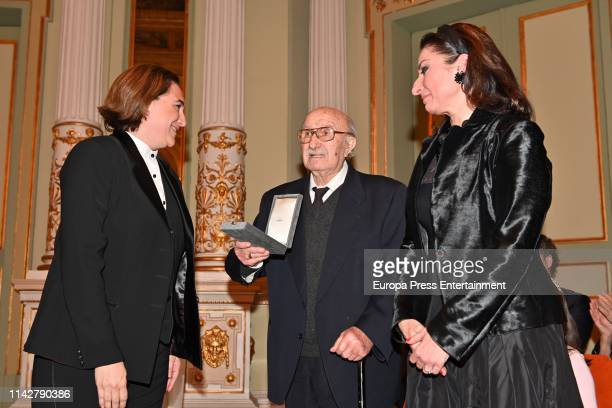 Ada Colau Bernabe Marti and Montserrat Marti Caballe attend the postume delivery of the Golden Medal of the City to Montserrat Caballe on April 12...