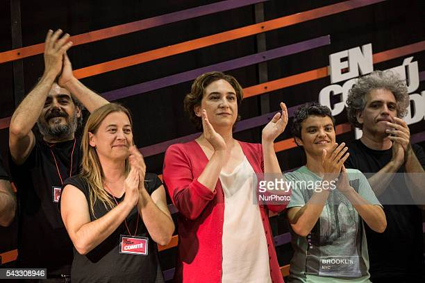 Ada Colau major of Barcelona celebrates with her team the victory of their political party quotEn comú podemquot in Catalonia after the results of...