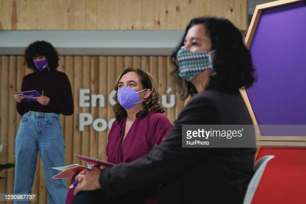 Ada Colau, mayor of Barcelona and member of the Catalan political party En Comú Podem, during the electoral campaign rally via streaming on Friday,...
