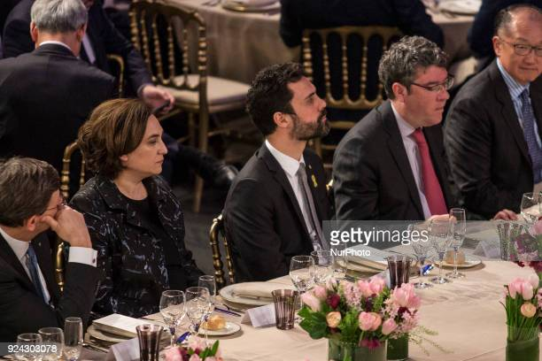 Ada Colau Mayor of Barcelona and Roger Torrent president of Catalan parliament during the King Felipe VI of Spain attending the Mobile World Congress...