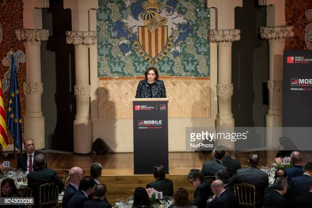 Ada Colau Mayor of Barcelona during the King Felipe VI of Spain attending the Mobile World Congress Official Dinner Inauguration at Palau de la...