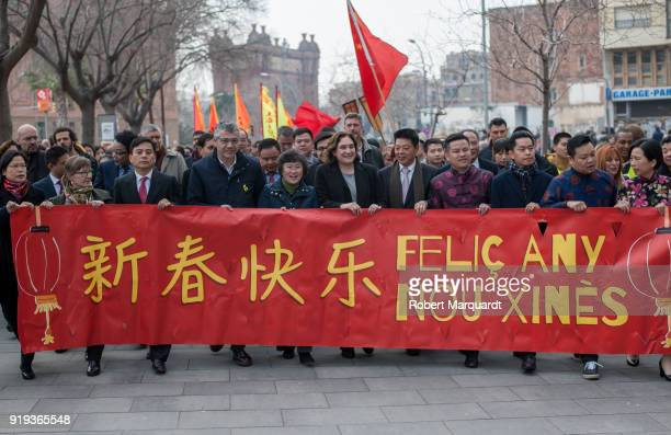 Ada Colau mayor of Barcelona is seen during a parade for the Barcelona celebration of the Chinese Lunar New Year of the Dog on February 17 2018 in...