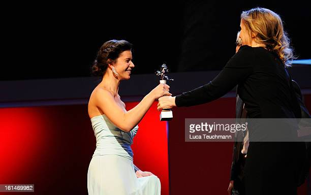 Ada Condeescu and Julie Delpy onstage at the Shooting Stars Stage Presentation during the 63rd Berlinale International Film Festival at the Berlinale...